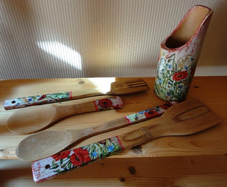 New Handmade Bamboo Kitchen Set 5 Items Country Style Unique
