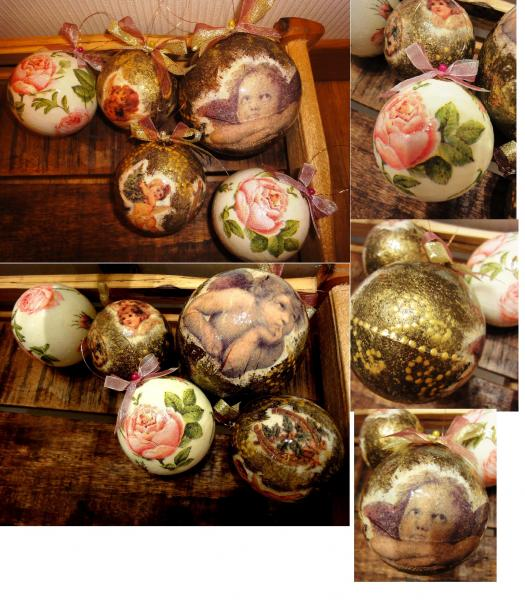 old style vintage handmade christmas decorations 5 pieces