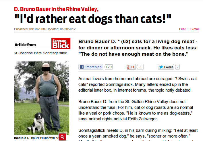 Switzerland Eat Dog And Cat