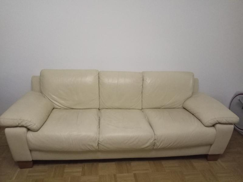 Free R Schlikon Italian Cream Leather Sofa 3