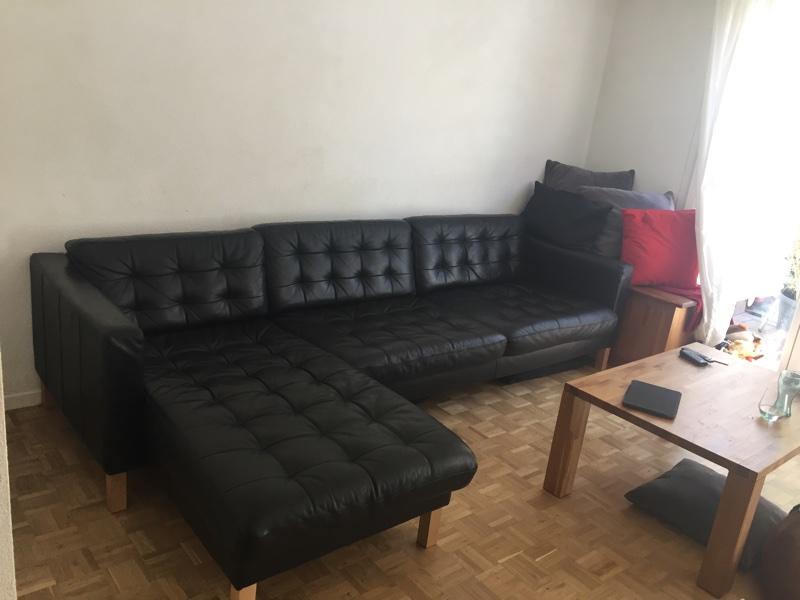 black leather ikea karlstad sofa l shaped english forum switzerland. Black Bedroom Furniture Sets. Home Design Ideas
