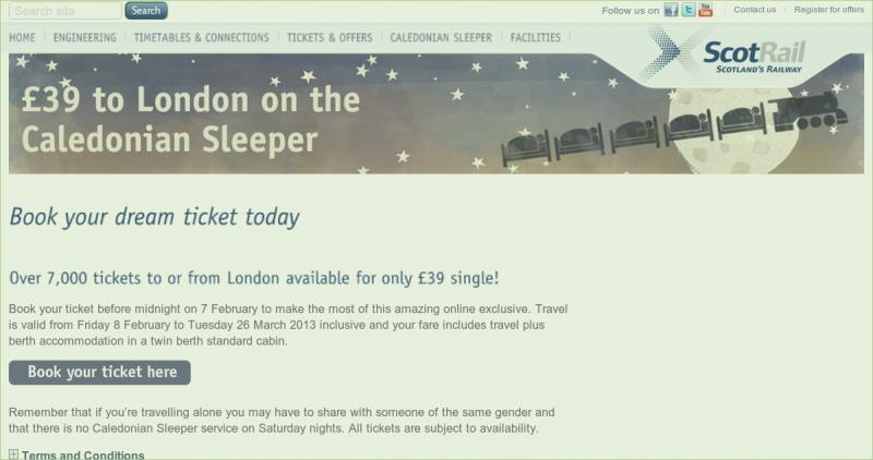 163 39 00 Single Caledonian Sleeper Train Tickets To Or From
