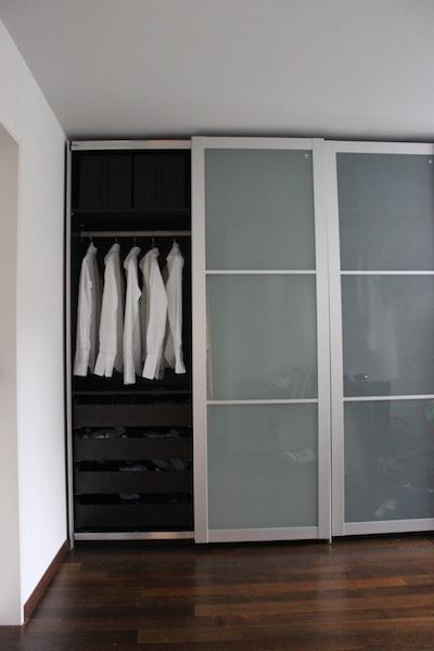 3 x PAX wardrobes, dark brown and milk glass sliding doors - English ...