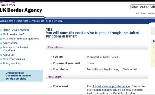 Transit Visa for the Uk needed or not as a South African