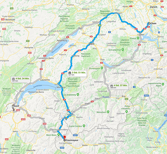 Driving Map Of Italy.Driving From Zug To Courmayeur Italy Advice Please English