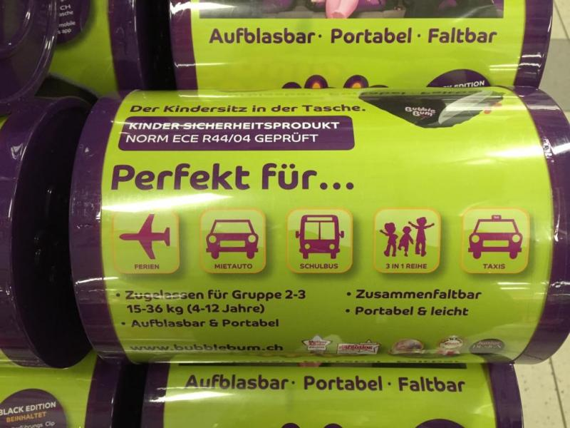 Inflatable Bubble Bum car booster seat - English Forum Switzerland