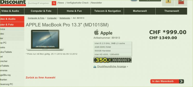 Interdiscount: MacBook Pro 13 3